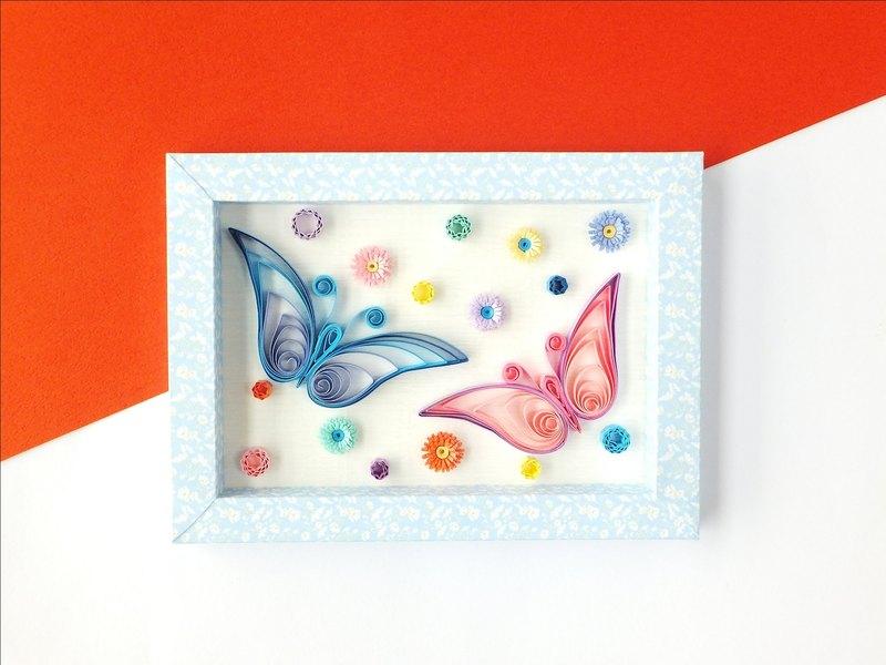 手作捲紙裝飾相框-花飛蝶舞訴情意 擺飾