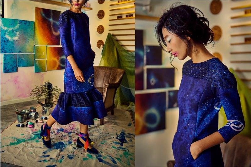 兩件式洋裝造型袖合身洋裝和百褶裙
