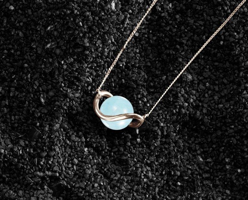 海藍寶14k黃金項鍊 極簡鎖骨鍊 藍色小項鍊金飾 三月誕生石墜子