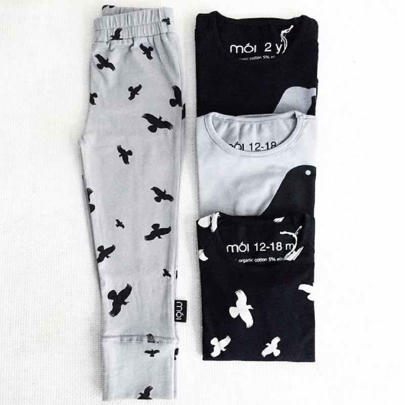 【冰島童裝】兒童有機棉貼腿褲12M至18 M零碼  淺灰大渡鴨