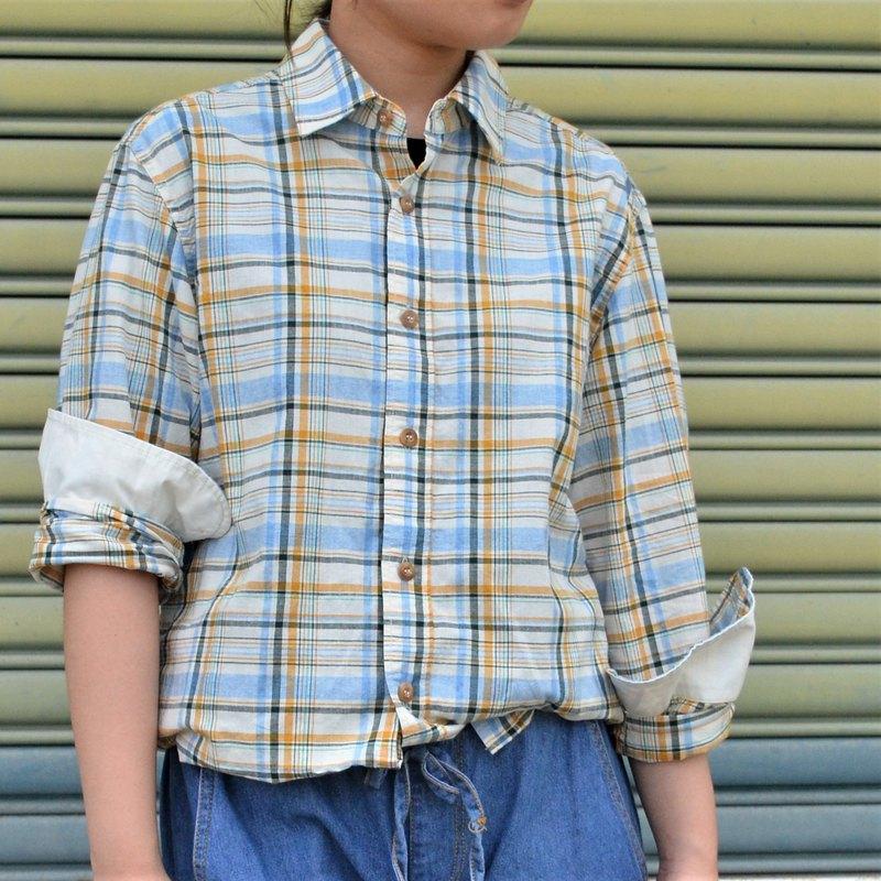 經典格紋綿麻襯衫