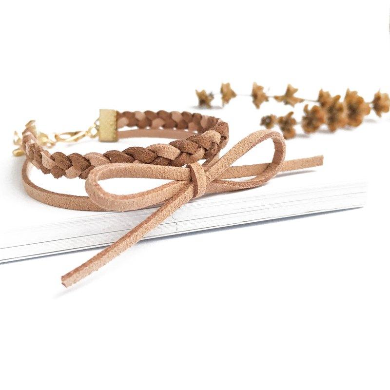 手作 手工編織 簡約 混色 手環 淡金色系列-巧克力 限量