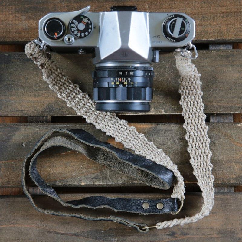 皮革和亞麻組合相機帶
