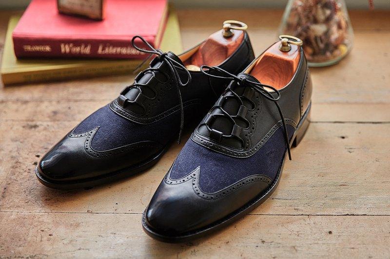 Ghillie 翼紋雕花鞋 海軍藍 紳士鞋 牛津鞋 婚鞋 皮鞋 男