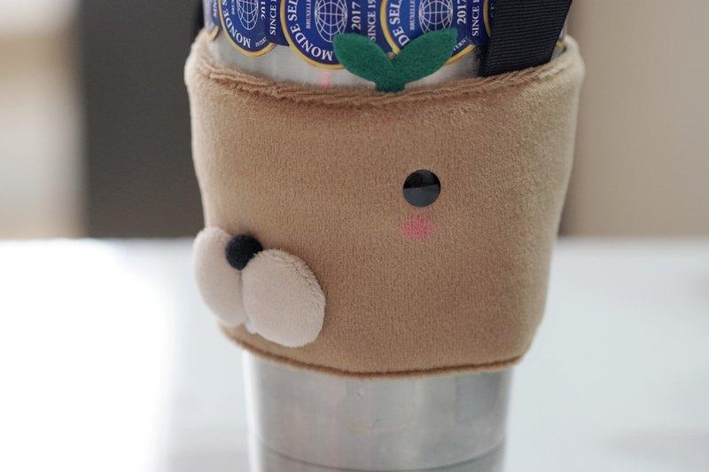 bucute馬林鼠環保1000ml的冰壩杯提袋/飲料杯套/環保杯套/手作