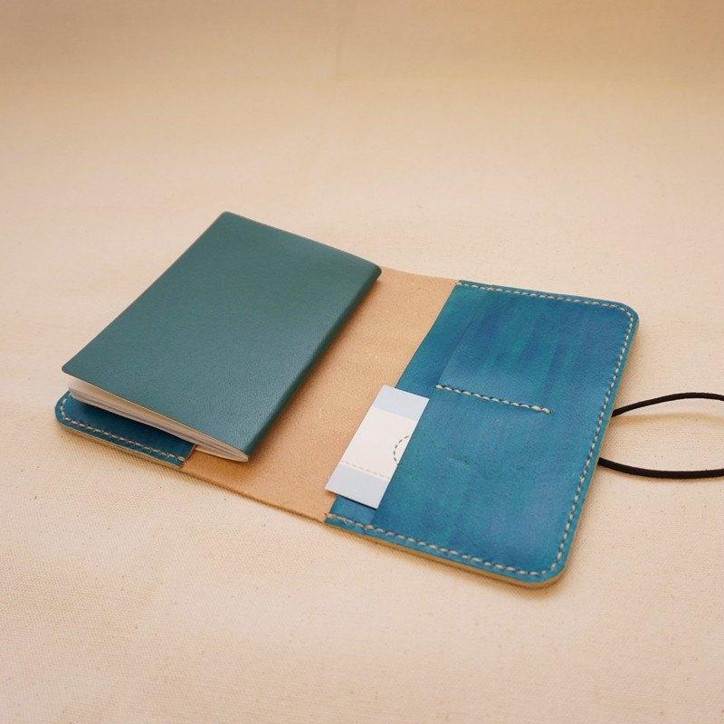 手染皮革護照套筆記本套-寶藍色