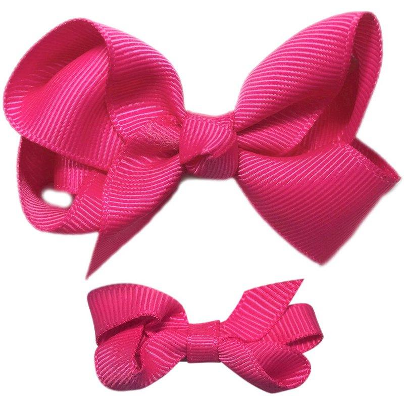 Cutie Bella 蝴蝶結全包布 手工髮飾中小套裝2入髮夾-Fuchsia
