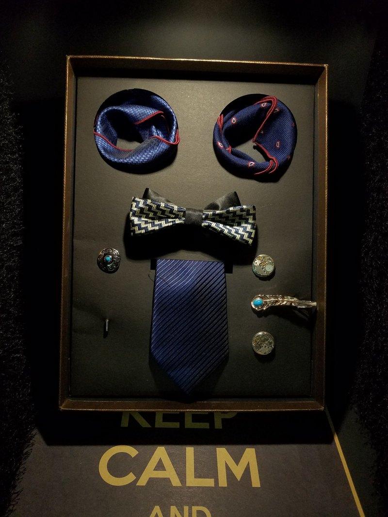 紳士套裝7件套領結領帶口袋巾套裝