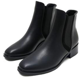 [AJGLJIYER LTD] ブーティ 歩きやすい ブーツ ショートブーツ レディース 履きやすい太ヒール 22.5cm ブーツチャンキーヒール 大きいサイズ 美脚 デザイン 個性的 ラクラク ブラック裏起毛 ブーティ 身長アップ ウオーキングシューズ