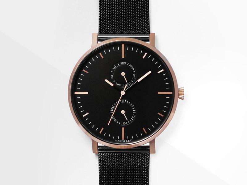 【免費刻字】Two-Tone 黑 x 玫瑰金 MG002 手錶 | 鋼帶+皮帶套裝 | 客製刻字