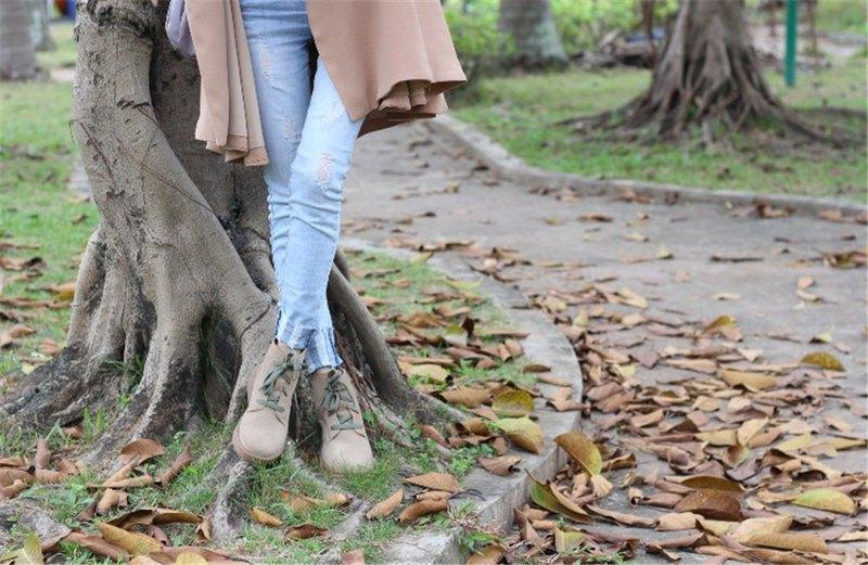 磨砂皮馬丁靴女日系森女靴子文藝休閒短靴