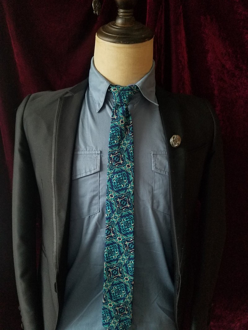 綠色古董花紋領帶紳士風領帶