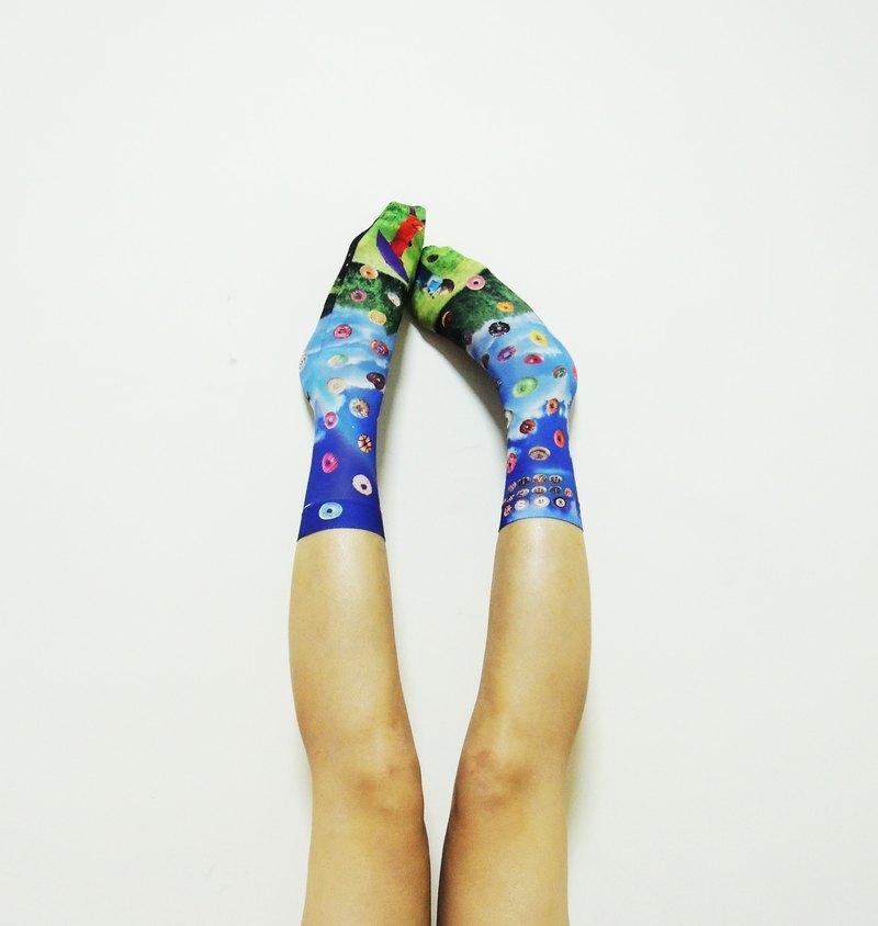 O+S= 限量原創雙面設計 CIRCLE RAIN 彩虹甜甜圈棒棒糖輕薄短襪 絲襪 棉襪