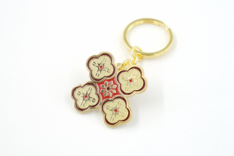 海棠壓花玻璃鑰匙圈