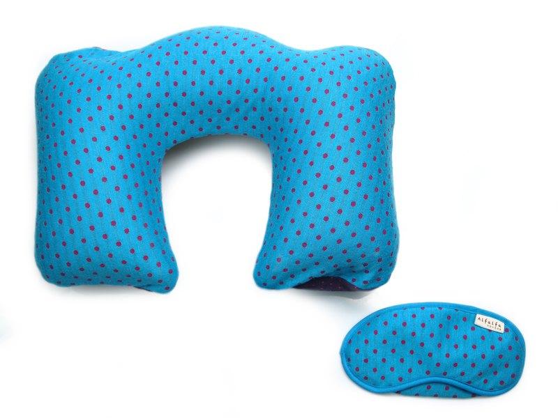 波點充氣可拆洗頸枕 + 甜睡眼罩套裝 - 天藍色