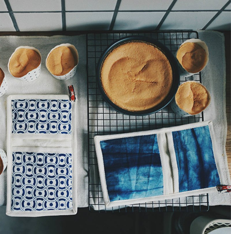 藍染織布 老印花土布 隔熱手套 敲好看的手工織帶老布墊餐桌墊