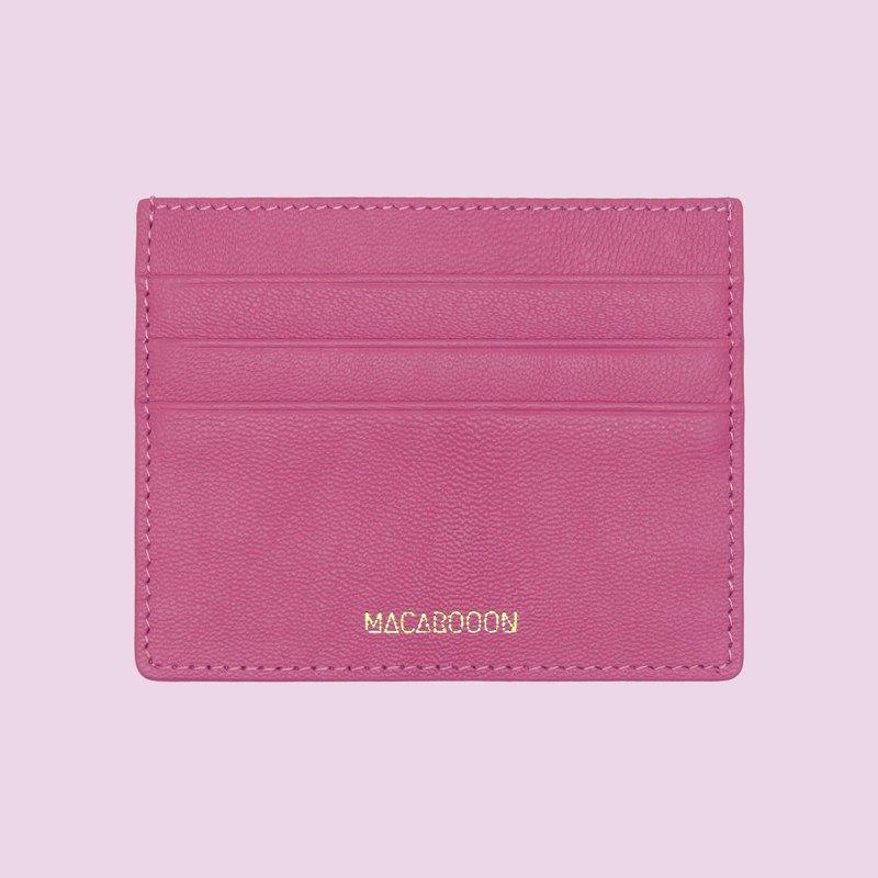 客製化意大利真皮革粉紅桃紅色卡片套 錢包 小錢包 卡包 卡夾