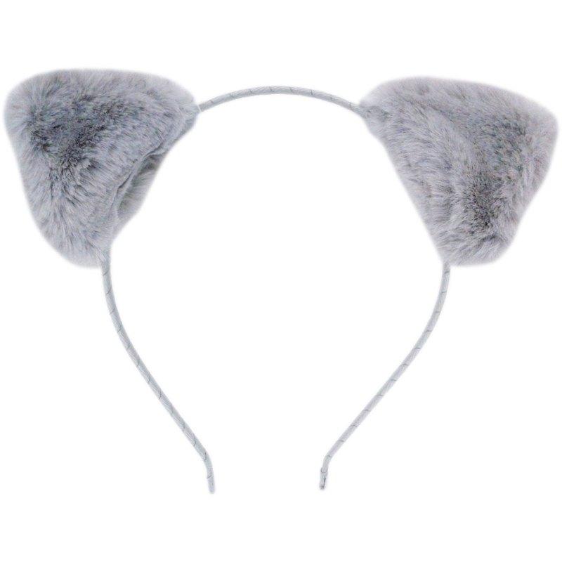 絨毛貓咪耳手工髮箍 全包布手工髮飾 Fur Bear Ear-Gray