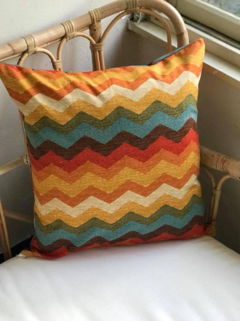 歐蕾塔生活雜貨-復刻彩色圖騰抱枕套