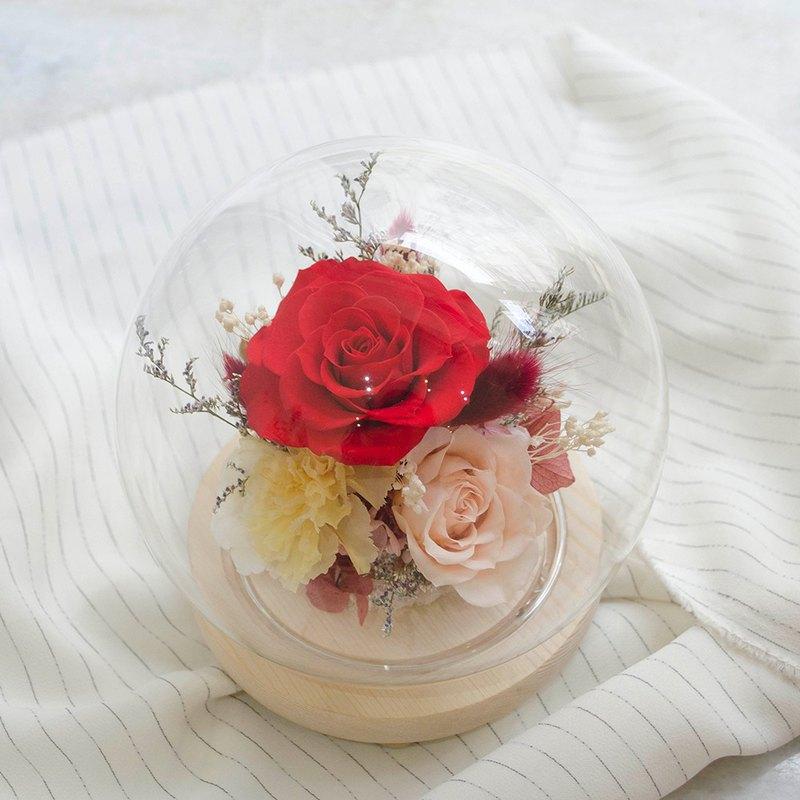 紅黃色系永生花玻璃球 大款玻璃罩 母親節康乃馨 永生紅玫瑰