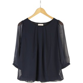 【Lサイズ/ネイビー】「なでしこ」シフォン胸元タック裾バルーン7分袖ブラウス