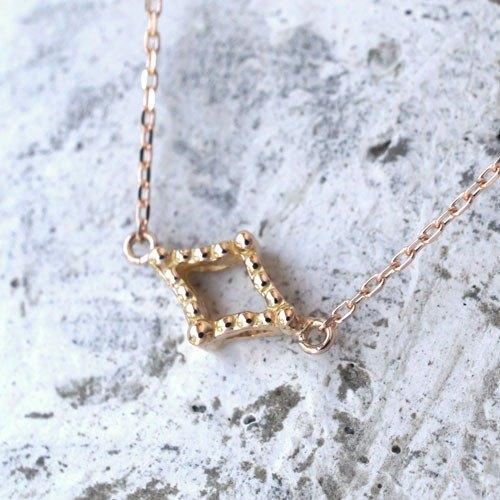 鋸狀項鍊(鑽石型,K18PG)