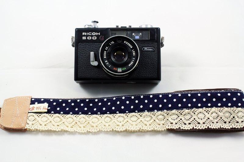 手作單眼.類單眼減壓相機背帶.相機背繩---蕾絲深藍色點點款