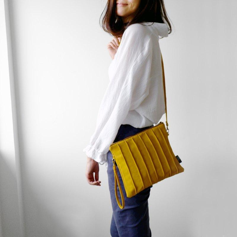 芥黃色 百摺帆布手拿包/斜背包