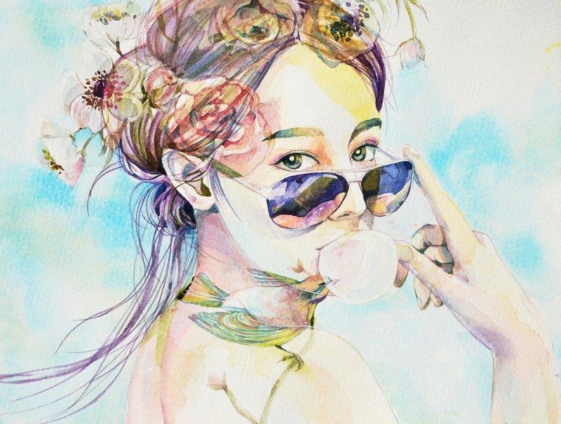 虎斑羊/Yang Szu Ting -illustration artist 手繪水彩人像客製化 尺寸:21x29.7cm