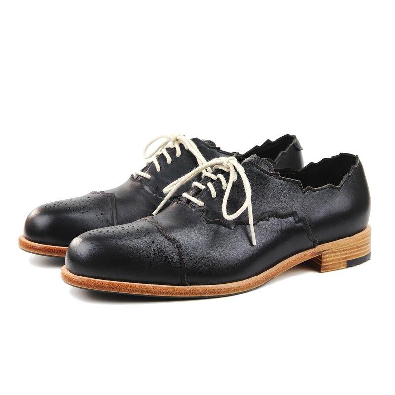 Sweet Villians M1168 手工真皮素面雕花牛津鞋 黑色