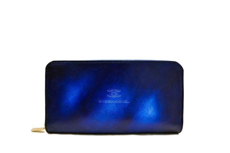 Acromo藍色圓形拉鍊長錢包/長錢包藍色深海不均勻染色真皮皮革