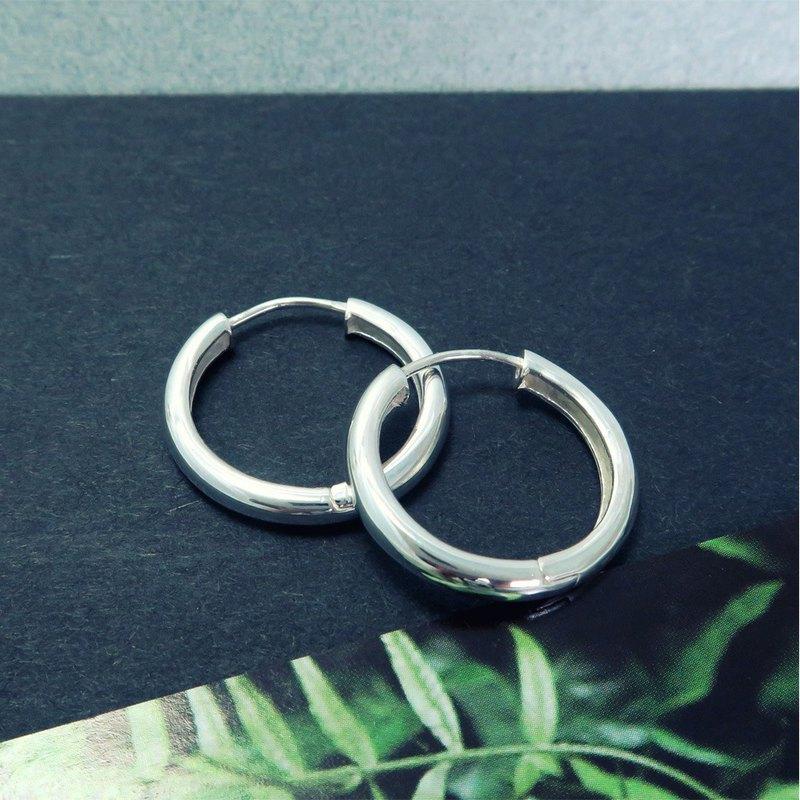 易扣/圈式耳環 圓形倒勾(24mm) 易扣式 純銀耳環-64DESIGN