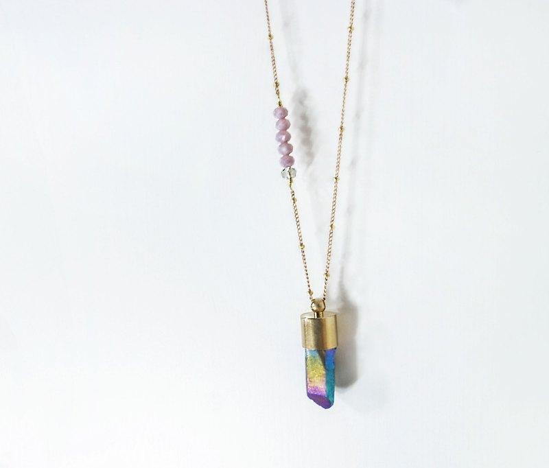 圓氐『綻放永恆』 波西米亞紫色迷惑長項鍊  手工復古黃銅