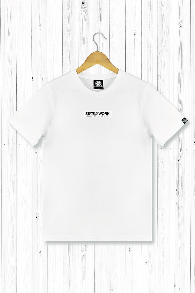 statelywork 小LOGOT-男白T恤