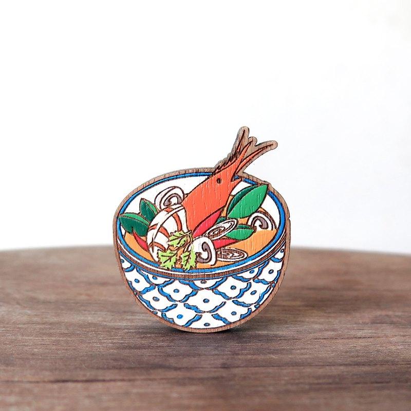 木製胸針泰國食品〜冬陰功湯。
