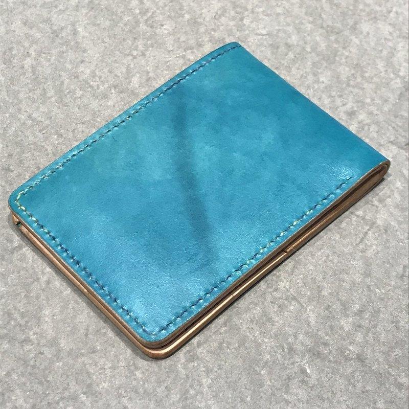 純手工製作手工染色皮革橫式中夾護照夾