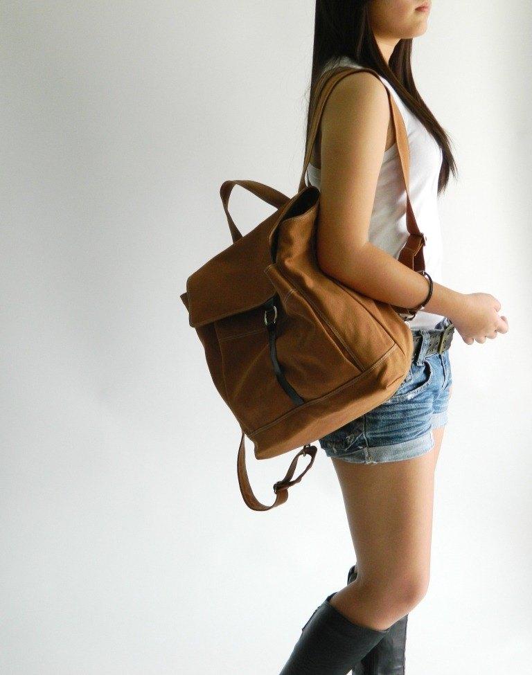 後背包 皮革背包 旅行背包 筆電包 妈妈包 -no:102 Tanya焦糖色