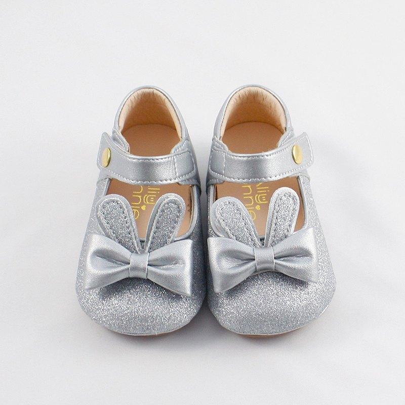 台灣手工製造 兔子跳跳寳寳鞋娃娃鞋-銀色