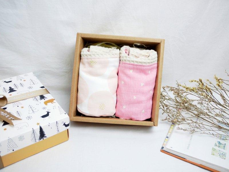 彌月禮盒:::八重紗口水巾 圍兜系列│粉紅夏日+粉紅三角形