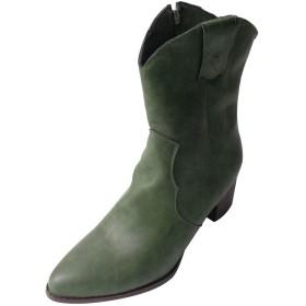 [シャオメイスター] レディース ブーティー ジッパー スクエアアンクル ブーツ レトロ 滑り止め 可愛い 美脚 通学 暖かい 通勤 軽量