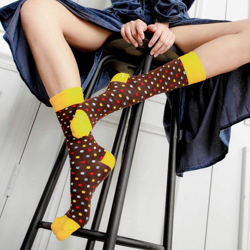 英倫風淑女棉襪∣彩色波卡點點-台灣製,四季襪,Polygiene抑菌除臭