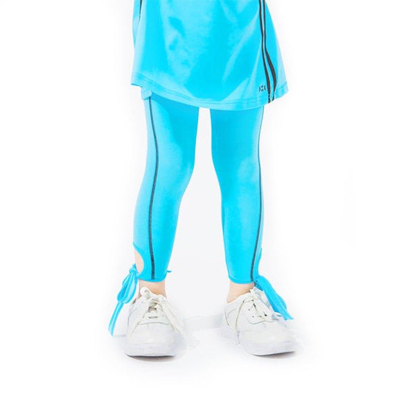 【HOII后益】防曬綁帶7分 Legging 褲-兒童-藍
