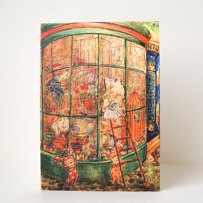 明信片 玩具店櫥窗木偶 發想自台大工會