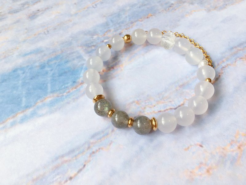 【Little Surprise】白瑪瑙 拉長石 白水晶 珍珠 黃銅 手鍊