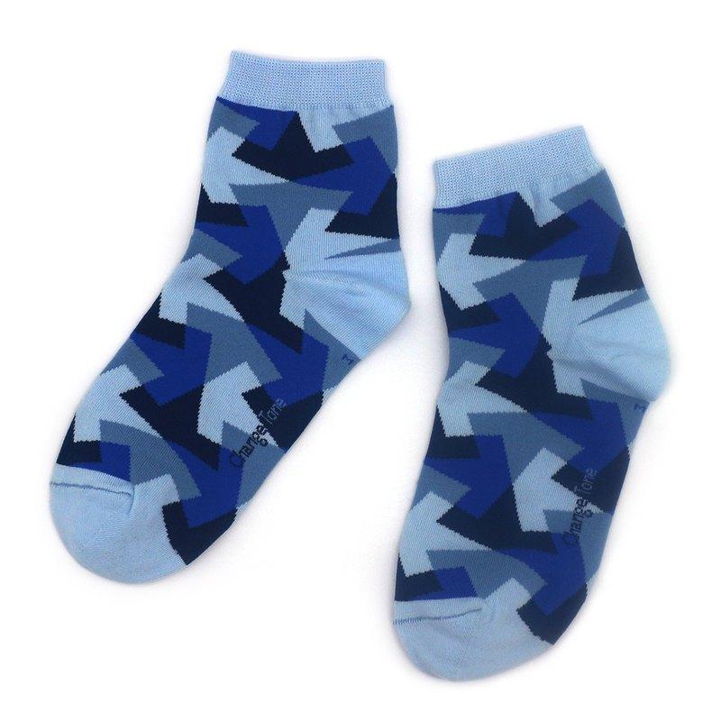萬花筒/藍(M)-MIT設計短筒襪