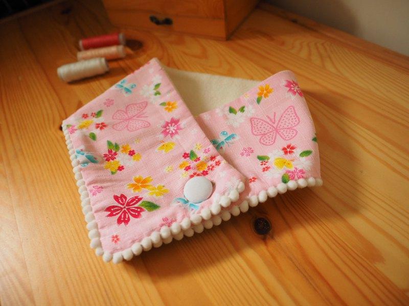 彌月禮盒 新年拜年 手作粉紅櫻花碎花圖案 嬰兒小孩保暖圍巾