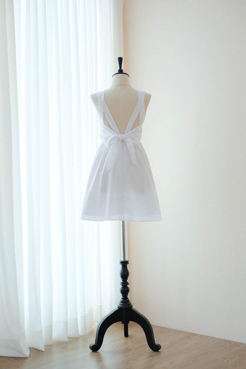 純白色連衣裙伴娘禮服露背派對雞尾酒短禮服