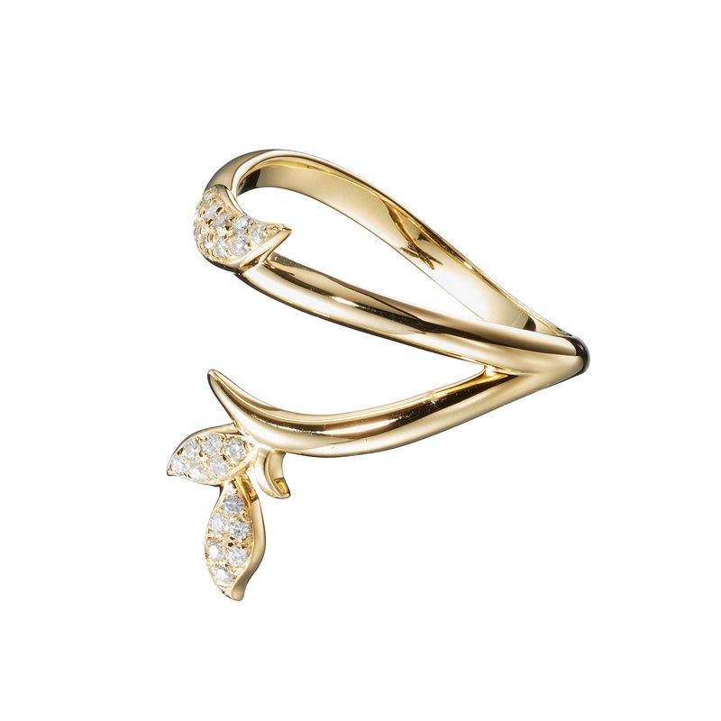 密釘鑲鑽石14k黃金結婚戒指 另類植物訂婚戒指 非傳統樹枝戒指