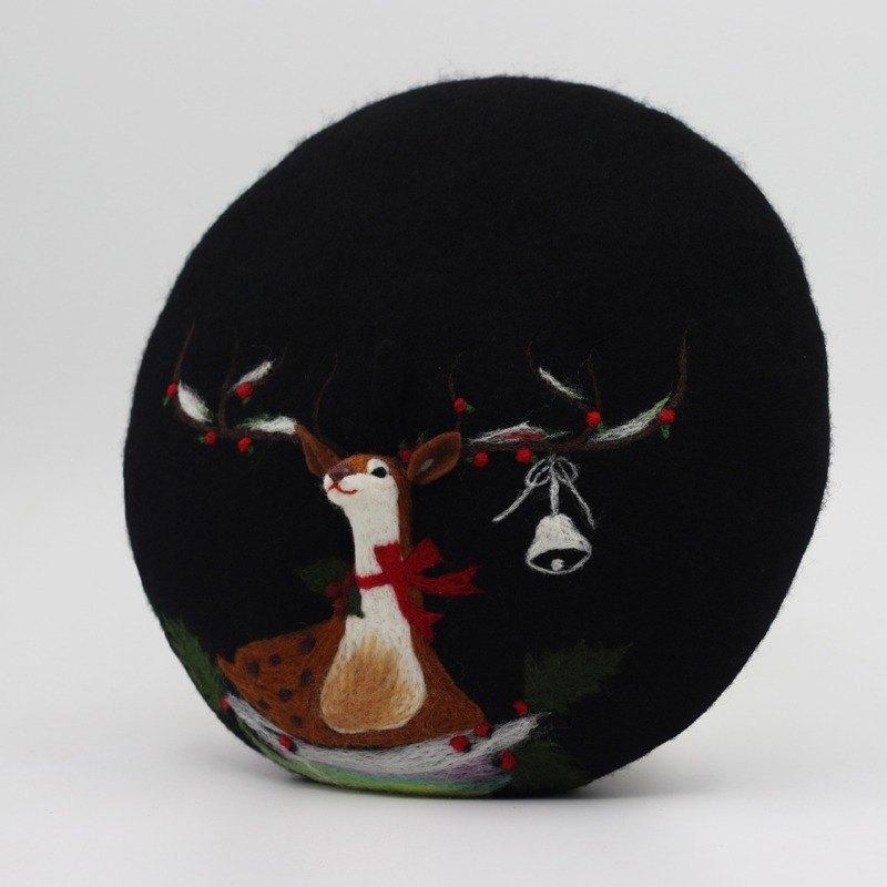 聖誕禮物原創手工羊毛氈貝雷帽畫家帽針氈立體鹿—黑色