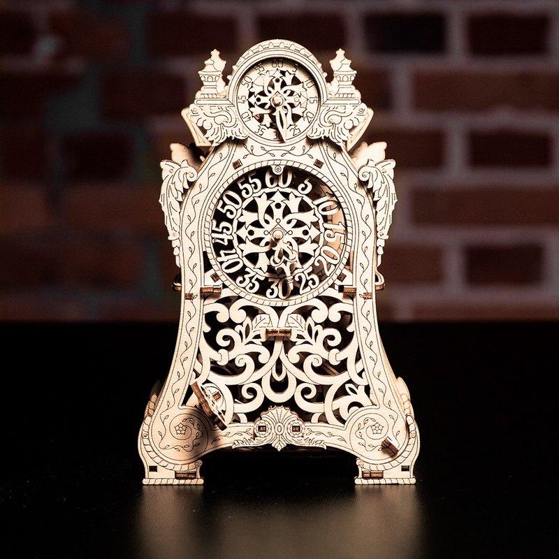 手作動力模型 巴洛克造型鐘 木製組合可動玩具